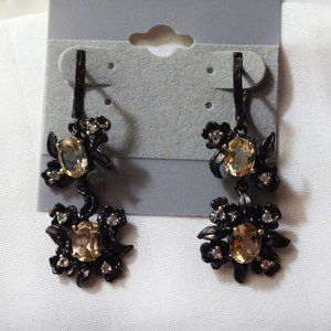 Citrine Sterling Silver Earrings, Blk Rh/Gold Plt